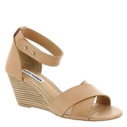 Steve Madden Women\'s Nilla Wedge Sandal, Bone Leather, 7.5 M US