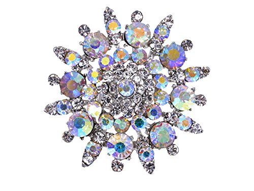 Alilang Adustable Silvery Tone Iridescent Clear Crystal Colored Rhinestones Floral Ring (Colored Rhinestone Costume Jewelry)