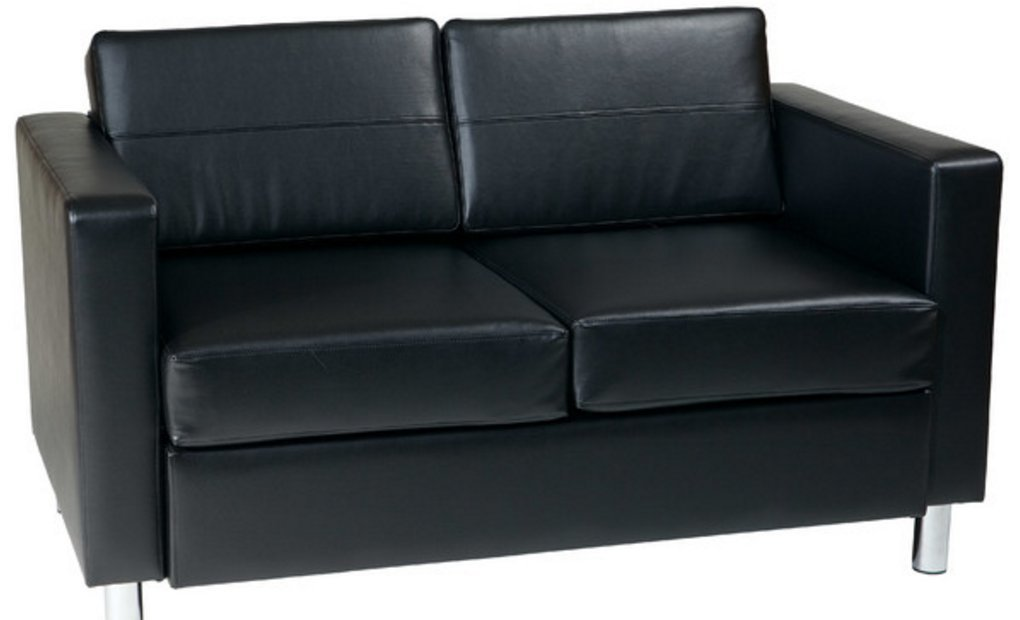 Contemporary Standard Faux Leather Loveseat - Features a Tropical Wood Frame - Has a Solid Frame That Is Upholstered