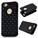 MOLLYCOOCLE Bling Star Series 2in1 Cover Case for iPhone 5 5S 5G Glitter Shiny Diamond Rhinestone Studded Embossed bas reliefs Oval Hard Cover Case (Gray)