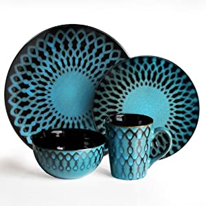 American Atelier Sicily 16-Piece Dinnerware Set, Blue by American Atelier