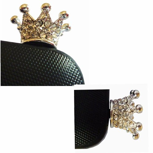 Poposh Silver Crown 3.5mm Crystal Anti Dust Plug Bling Earphone Jack Glitter Diamond Rhinestone Headphone Port Stopper Caps For iPhones, Samsung Galaxy, htc, nokia, Blackberry and other smartphones (Union Jack Style) (Crown Headphone Jack Charm compare prices)