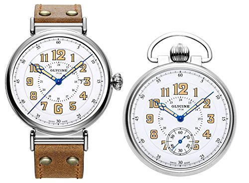 Limited Edition Glycine F104 100th Anniversary GMT Watch & Pocket Watch Set 3932.146AT LB7R