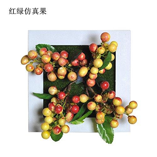 qwer Creative decorazioni murali di emulazione di piante succulente pareti e tappezzerie tappezzerie sfondo appeso a parete , rosso e verde frutto di emulazione