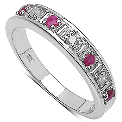 The Diamond Ring Collection: Beautiful 3mm Width Ruby & Diamond Eternity Ring in Sterling Silver