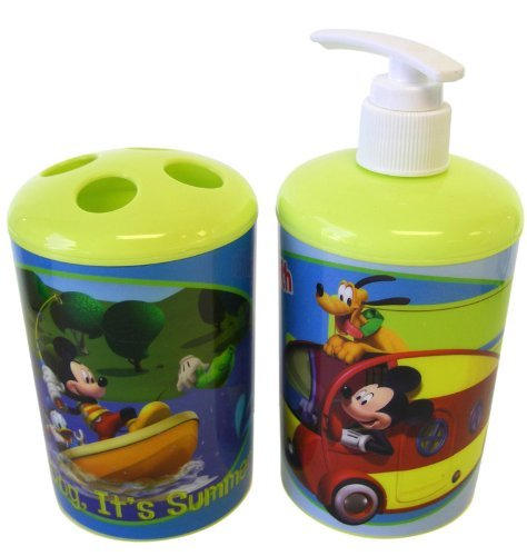 Disney Classic 2pc Toothbrush Holder and Soap Dispenser Mickey Mouse Bath Set - Mickey Toothbrush Holder - Mickey Soap Pump