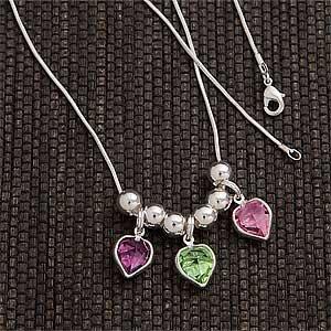 Custom Birthstone Heart Pendant Necklace for Mom and Grandma