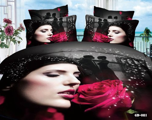 Queen King Size 100% Cotton 7-Pieces 3D Red Rose Pretty Girl Lady Face Black Floral Prints Fitted Sheet Set With Rubber Around Duvet Cover Set/Bed Linens/Bed Sheet Sets/Bedclothes/Bedding Sets/Bed Sets/Bed Covers/ Comforters Sets Bed In A Bag (King) front-854434