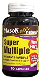 Mason Vitamins Super Multiple with 34 Vitamins & Minerals-Iron Free Capsules,60-Count Bottle (Pack of 2)