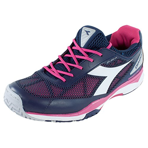 Diadora Women's S.Pro Evo AG Tennis Shoe-8 B(M) US-Blue Plum/Bright Rose