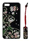 蒔絵iPhone5専用ケース/スワロフスキー桜に流水紋(黒) ストラップ付き
