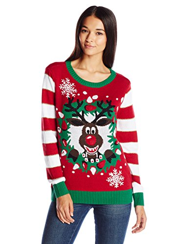 Ugly Christmas Sweater Women's Light-Up Reindeer Wreath