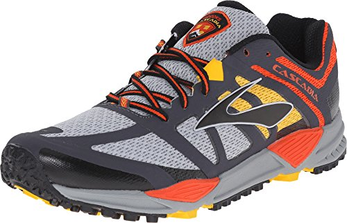 Brooks Cascadia 11 Running Shoe - Men's River Rock/Cherry Tomato/Spectra Yellow, 14.0 (Tomato Man compare prices)