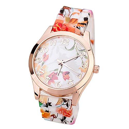 Sannysis(Tm) 1Pc Luxury Silicone Printed Flower Causal Quartz Wristwatches (Orange)