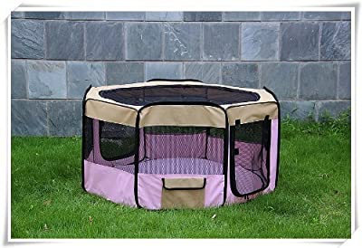 "Pingkay 60"" 5 Colors Portable Soft Pet Soft Side Play Pen or Kennel for Dog, Cat, or Other Small Pets"
