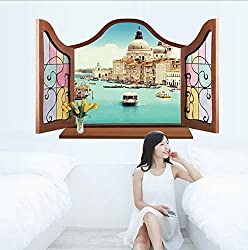 New 2016 New DIY Wall Stickers 3D Beautiful Window View of Forest Alley Wallpaper Art Decor Mural Kids Room Decor Home Decoration MJ8017B