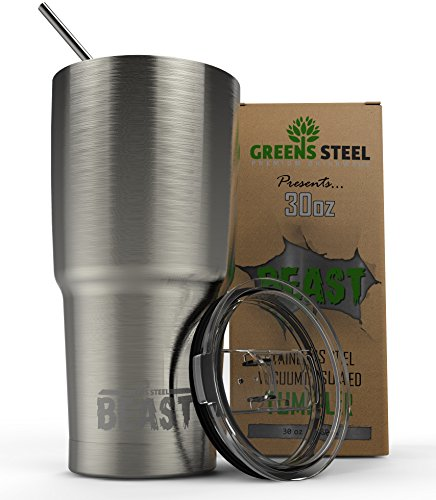 Beast 30 oz Tumbler Stainless Steel Vacuum Insulated Rambler Coffee Cup Double Wall Travel Flask with Splash Proof Lid & Curved Straw Premium Quality Gift Bundle By Greens Steel