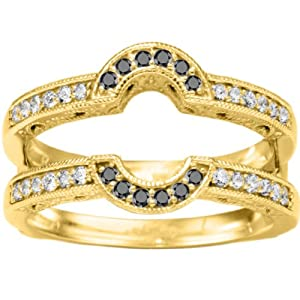 Black Diamond Oval Shaped Halo Style Ring Guard Set In Yellow Plated Sterling Silver (0.21 Ct. Twt.)