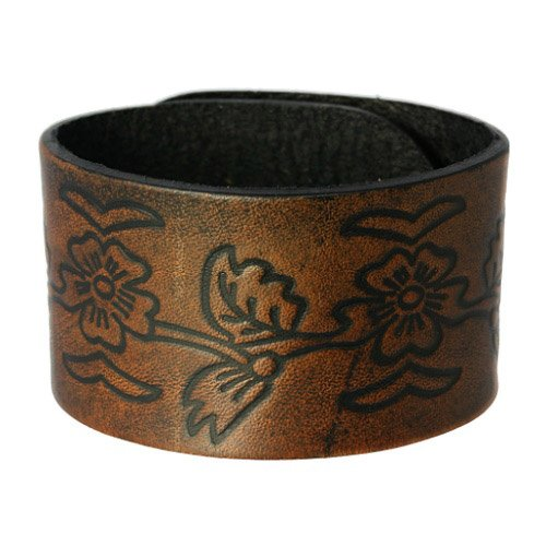 SilberDream Leather Bracelet brown with floral engraving and button closure - fits 7'' to 8.3'' - Men/Women Leather Bracelets genuine Leather LA3271B