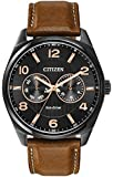 Citizen Men's Quartz Watch with Analogue Display and Brown Leather Strap