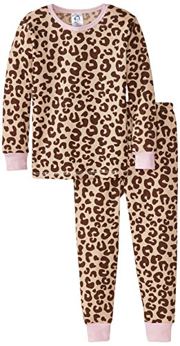 Gerber Little Girls' 2 Piece Thermal Pajamas, Animal Print, 4T