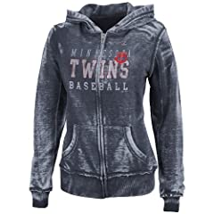 MLB Minnesota Twins Washed Athletic Navy Heather Long Sleeve Full Zip Hood Bunout... by Majestic