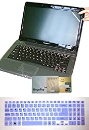 BingoBuy 2-in-1 Ultra Thin Soft US Layout Keyboard Skin Cover + 15.6\'\' anti glare & anti fingerprint & anti scratch Screen Protector (only cover visible screen part like ads, length 345mm x width 194.5mm) for Acer Aspire E1-510 E1-510P E5-511 ES1-512 E5-5