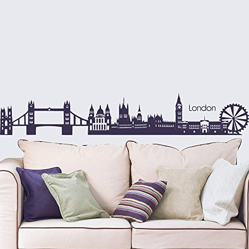Wall Decal Vinyl Sticker Decals Art Decor Design City Skyline London Town Buildings World Map Mural Skyscrapers Bedroom Modern Style (R412) front-601686
