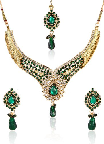 Shining Diva Divine Kundan Necklace Set With Maang Tika For Women