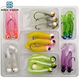 Generic Easy Catch 17pcs Soft Lures With Jig Head Hooks Set Mixed Color Assorted 3D Eyes Jig Hook With Artificial...