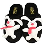 Bunny Rabbit Fuzzy Plush Indoor Outdoor NonSlip Grip Sole Slippers Black M 7-8
