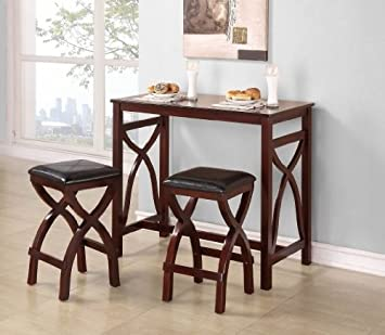 Homelegance Delling 3 Piece Counter Height Set in Warm Cherry