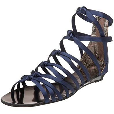 BLACK Women's Satin Gladiator Satin Gladitor Sandal,Navy,36 EU: Shoes