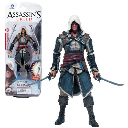 """McFarlane Toys Year 2013 Series 1 """"Assassin's Creed IV Black Flag"""" 6 Inch Tall Action Figure - EDWARD KENWAY with 2 Swords, 2 Long Gauntlet Swords and 2 Shord Gauntlet Swords Plus Game Code to Unlocks Kenway Family Sword (Code does not work on PS4 and XBox One)"""