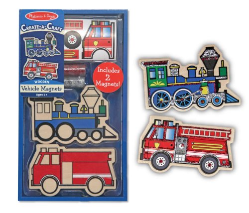 Melissa & Doug Create-A-Craft Wooden Vehicles Magnets (2 pieces) - 1
