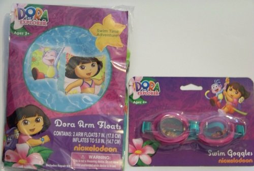 Dora Arm Floats & Swim Goggles Set