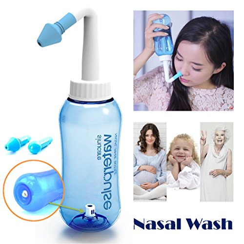 Tonelife Nasal Nose Wash Bottle Nasal Cleanse 10oz 300ml Nose Cleaner Clean Irrigator Allergies Relief Pressure Rinse Neti Pot Cleanser Irrigation Nasal Cleansing Washer Sneezer Washing,Blue Color (Neti Pot Squeeze Bottle compare prices)