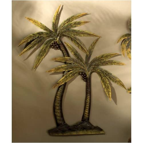 Coco palm tree metal wall decor for Palm tree decorations for the home