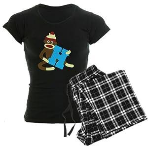 CafePress Sock Monkey Monogram Boy H Women's Dark Pajamas Women's Dark