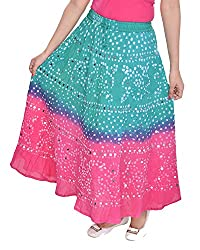 Soundarya Womens Cotton Long Skirt(RS3043, 38, Green and Pink)