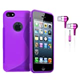 PURPLE S LINE WAVE GEL SKIN CASE & PINK IN EAR EARPHONES FOR NEW APPLE IPHONE 5