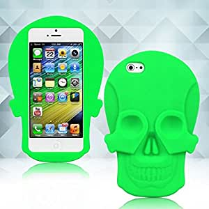 New Green 3D Skull Soft Silicone Back Case Cover Protective Skin for iPhone 5 5Gen 5th