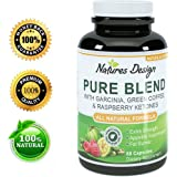 Pure Garcinia Cambogia, Green Coffee Bean & Raspberry Ketones Complex + Green Tea - Highest Grade Pure Blend, Quality & Premium Formula - Doctor Recommended Dosages, Guaranteed By Natures Design