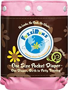 FuzziBunz One Size Diaper, Cotton Candy, 10-45 Pounds (Discontinued by Manufacturer)