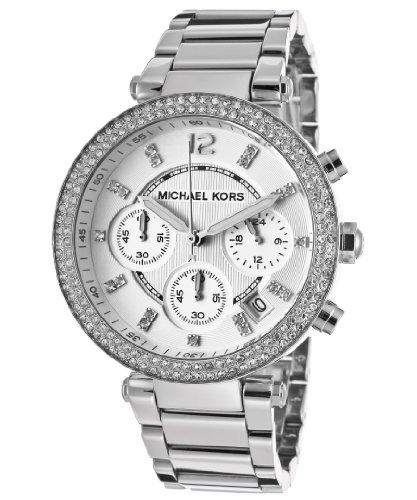 Michael Kors Parker Glitz Watch, Silver Color