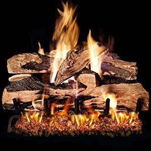Peterson Real Fyre 18-inch Split Oak Designer Plus Log Set With Vented Natural Gas G45 Burner - Match Light