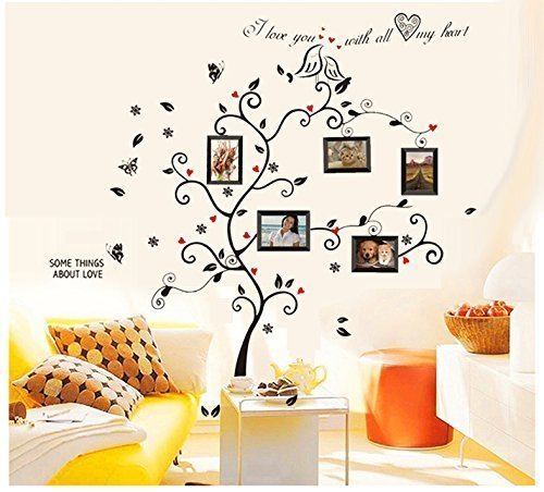 BOGZON Kiss Birds Trees Hearts Leaves Black Photo Picture Frame Decal Removable Wall Decals Large Wall Stickers Love Quotes/Decorative Painting Supplies/Wall Sticker for Living Room Bedroom Wallpops Decal (Quote Paintings compare prices)