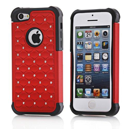 Meaci® Iphone 5C Case Combo Hybrid Case Glitter/Bling Diamond Dual Layer Pc&Silicone Protective Case 1X Diamond Anti-Dust Plug Stopper(Random Color) (Red/Black Silicone)