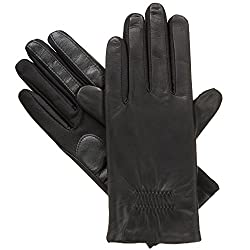 Isotoner Women's Stretch Leather Gloves Fleece Lined with Smart Touch Technology, Black, Large/X-Large