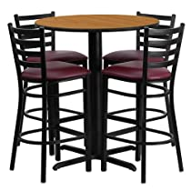 Hot Sale Flash Furniture 30'' Round Natural Laminate Table Set with 4 Ladder Back Metal Bar Stools - Burgundy Vinyl Seat